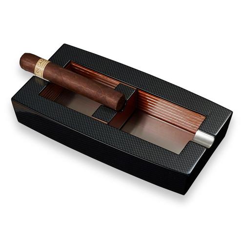 Visol Normandy Elongated Carbon Fiber 2-Cigar Ashtray - with Adjustable Cigar Rests  - Exterior Front with Cigar