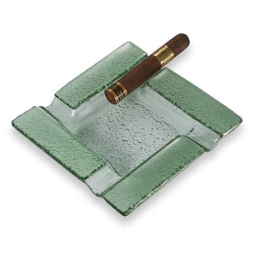 Visol Tanner Square Glass 4-Cigar Ashtray  - Exterior Front with Cigar