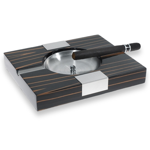Visol Tigress Solid Wood 2-Cigar Ashtray  - Exterior Front