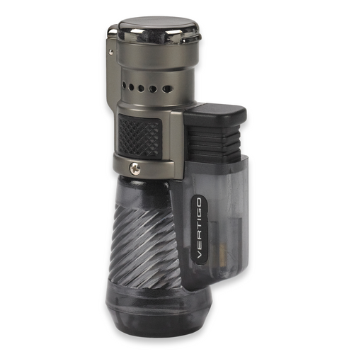 Quality Importers Cyclone Torch Flame Triple Jet Cigar Lighter - Charcoal - Exterior Front