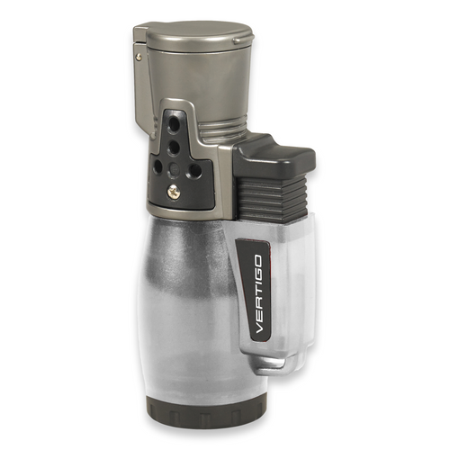 Quality Importers Cyclone 2 Torch Flame Triple Jet Cigar Lighter - Clear - Exterior Front