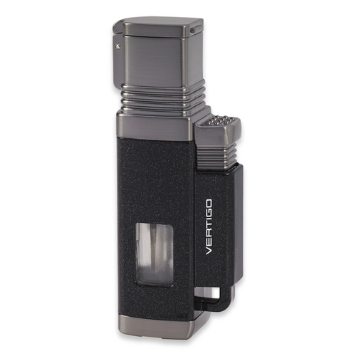 Quality Importers Churchill Torch Flame Quad Jet Cigar Lighter - Metallic Black and Brushed Gunmetal - Exterior Front