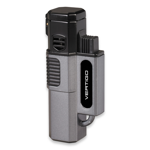 Quality Importers Hornet Torch Flame Quad Jet Cigar Lighter - Metallic Gray - Exterior Front