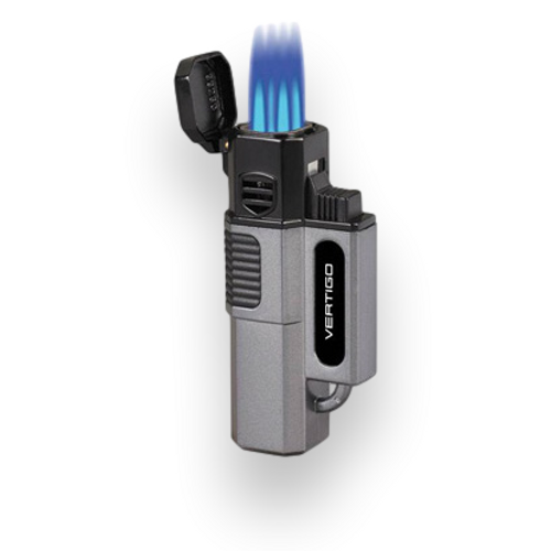 Quality Importers Hornet Torch Flame Quad Jet Cigar Lighter - Metallic Gray - Exterior Front with Flame