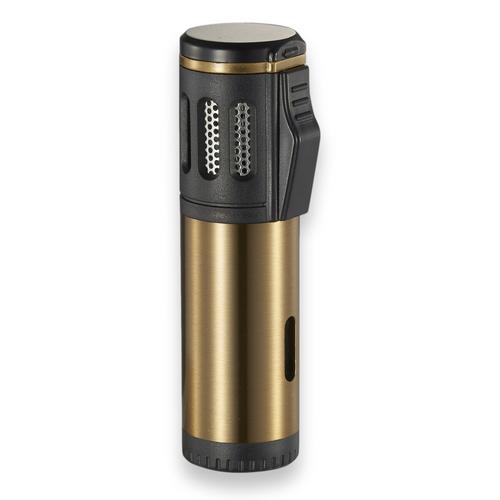 Visol Artemis Torch Flame Triple Jet Zigarettenanzünder - Gebürstetes Gold - Außenfront