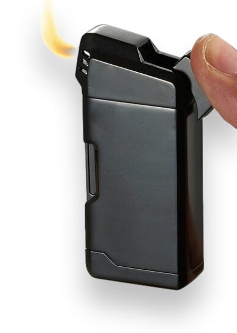 Visol Epirus Soft Flame Cigar Pipe Lighter - Black - Exterior Front Ignition