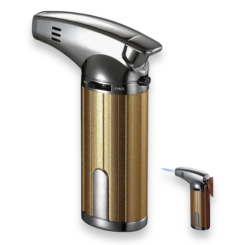 Visol Fiamma Torch Flame Single Jet Cigar Lighter - Gold and Chrome - Exterior Front