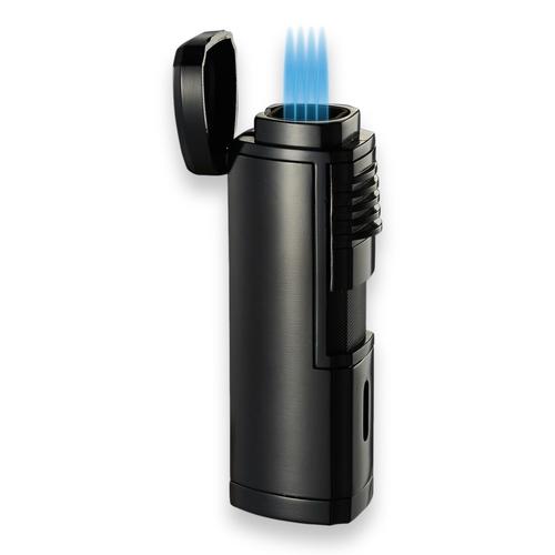 Visol Pyrgos Torch Flame Quad Jet Cigar Lighter - Matte Black - Exterior Front with Flame