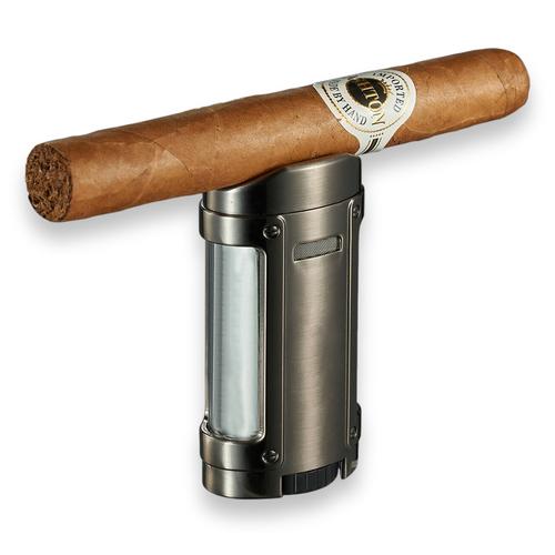 Visol Rhino Torch Flame Quad Jet Cigar Lighter - Gunmetal - Exterior Front with Cigar