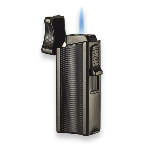 Visol Ridge Torch Flame Single Jet Cigar Lighter - Black - Exterior Front with Flame