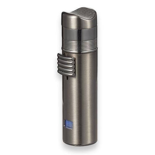 Visol Saddle Torch Flame Triple Jet Cigar Lighter - Gunmetal - Exterior Front