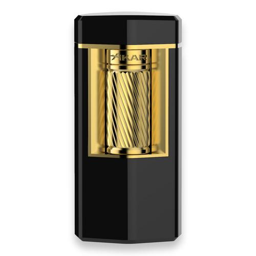 Xikar Meridian Triple Soft Flame Cigar Lighter - Black and Gold - Exterior Front