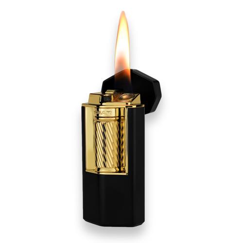 Xikar Meridian Triple Soft Flame Cigar Lighter - Black and Gold - Exterior Flame