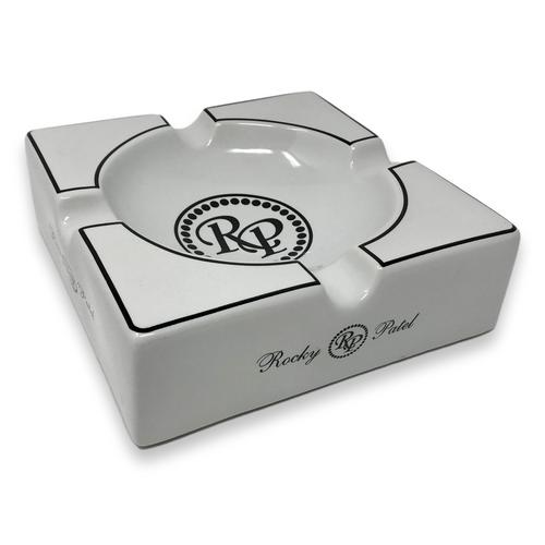 Rocky Patel Pearl Square Porcelain 4-Cigar Ashtray  - Exterior Side