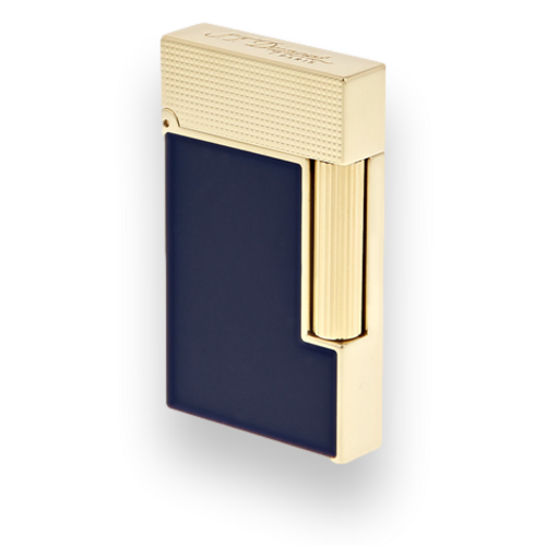 S.T. Dupont Line 2 Micro Diamond Head Soft Flame Cigar Lighter - Perfect Ping Series - Blue Lacquer and Yellow Gold - Exterior Closed