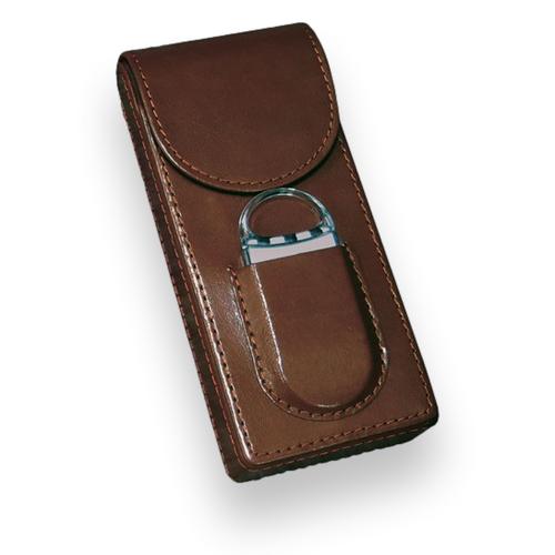 Prestige Magnetic  Leather 3-Finger Cigar Case - with Fliptop Enclosure - Brown - Exterior Front
