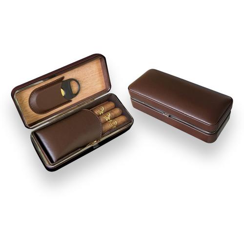 Prestige Folding Leather 3-Finger Cigar Case - Brown - Exterior Front