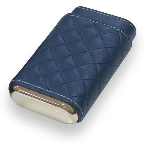 Prestige Drexel Diamond Stitch Leather 3-Finger Cigar Case - Blue - Exterior Front