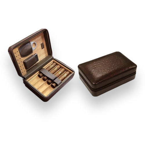 Prestige Manhattan Leather 4-Finger Travel Cigar Case - with on Board Accessories - Brown - Exterior Interior Front