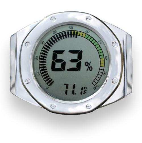 Prestige Watch Style Digital Hygrometer - Silver - Exterior Front