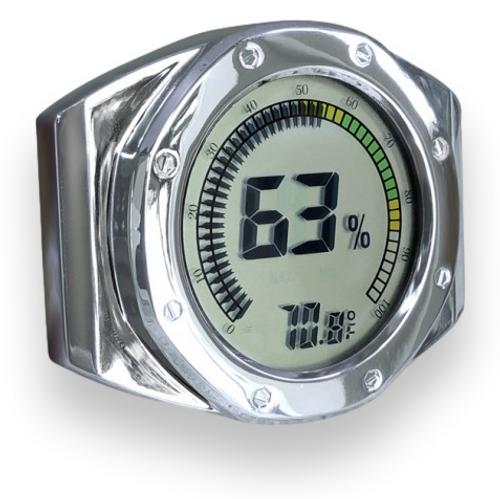 Prestige Watch Style Digital Hygrometer - Silver - Exterior Side