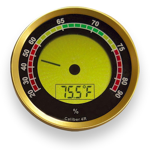 Prestige Caliber 4R IV R Gold Digital Hygrometer  - Exterior Front