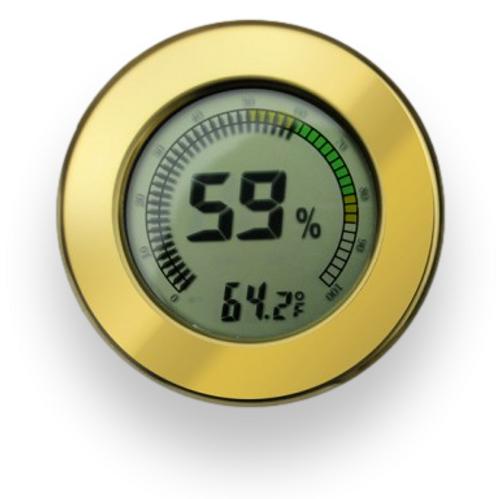 Prestige Polished Digital Hygrometer - Gold - Exterior Front