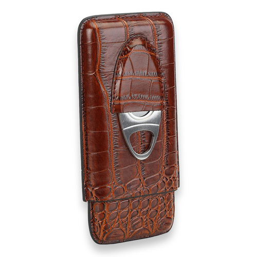 Cross Peak Brown Leather 3-Finger Cigar Case with Cutter  - Exterior Front