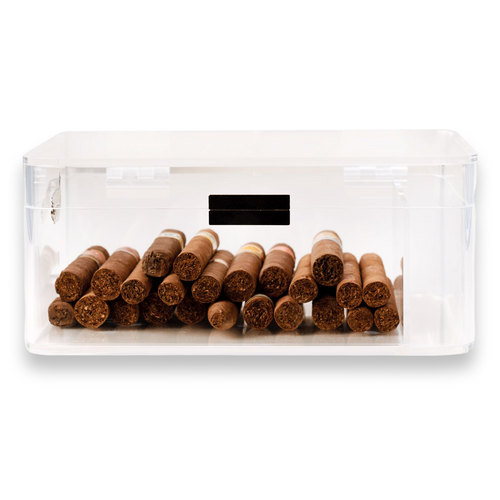 Bey-Berk 60-Cigar Acrylic Humidor with Magnetic Closure - Clear - Exterior Front