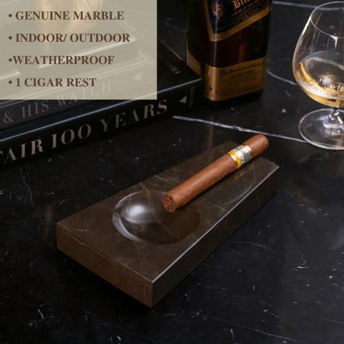 Bey-Berk Marble 1-Cigar Ashtray - Amber Emperador - Exterior Front Lifestyle