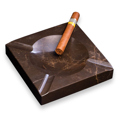 Bey-Berk Marble 4-Cigar Ashtray - Amber Emperador - Exterior Front with Cigar