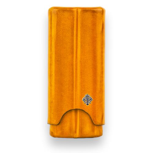 Artigiani Del Re Cuban Robusto Lounge Leather 2-Finger Cigar Case - Yellow Oriolus - Exterior Front