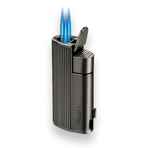 Vector Diablo Torch Flame Triple Jet Cigar Lighter - Gunmetal Satin - Exterior Front