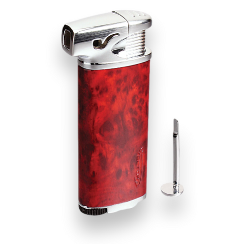 Vector Elio Soft Flame Cigar Pipe Lighter - Mahogany Marble Lacquer - Exterior Front