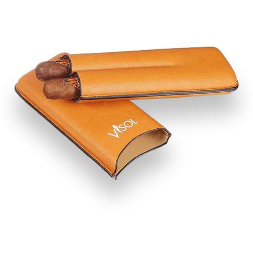 Visol Dakota Tan Leatherette Cigar Case - 2-Finger - Exterior Front Open