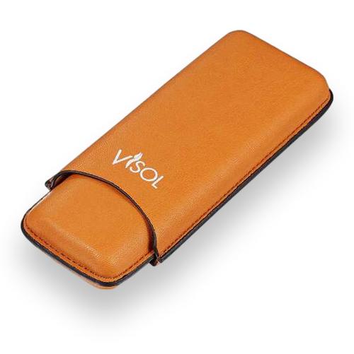 Visol Dakota Tan Leatherette Cigar Case - 2-Finger - Exterior Front Closed