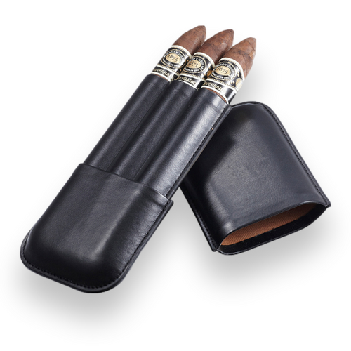 Visol Honor Synthetic Leather 3-Finger Cigar Case  - Exterior Front Open