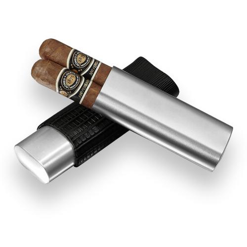 Visol Salerno Leather 2-Finger Cigar Case - Black - Exterior Front