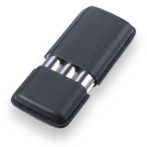 Visol Vincent Leather and Metal 3-Finger Cigar Case  - Exterior Front Closed