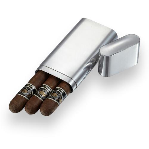 Visol Livorno Metal 3-Finger Cigar Case  - Exterior Front Open
