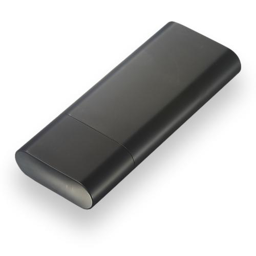 Visol Prato Metal 3-Finger Cigar Case - Black Matte - Exterior Front