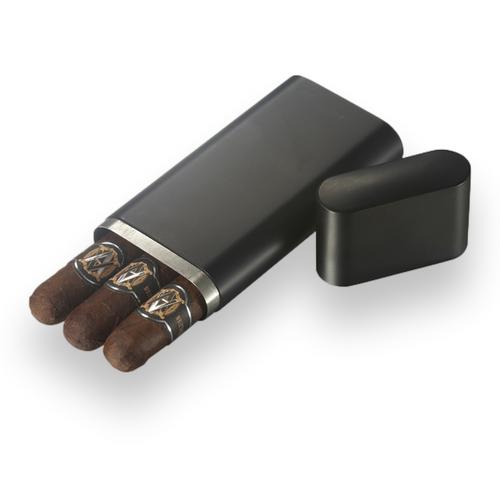 Visol Prato Metal 3-Finger Cigar Case - Black Matte - Exterior Front Open with Cigars
