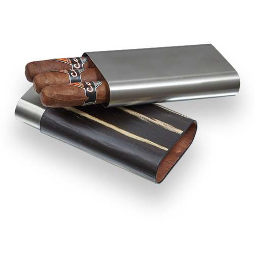 Visol Carver Wood and Metal 3-Finger Cigar Case - Ashburl and Stainless Steel - Exterior Front Open with Cigars