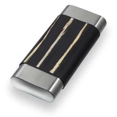 Visol Carver Wood and Metal 3-Finger Cigar Case - Ashburl and Stainless Steel - Exterior Front