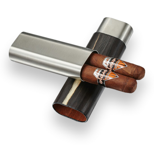 Visol Ryland Wood and Metal 2-Finger Cigar Case - Dark Exotic Wood and Stainless Steel - Exterior Front Open with Cigars