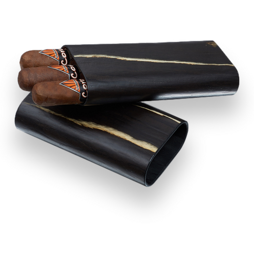 Visol Silas Wood 3-Finger Cigar Case  - Exterior Front Open with Cigars
