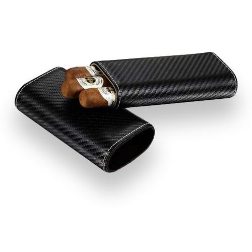 Visol Santa Fe Leather 3-Finger Cigar Case - Black Carbon Fiber - Exterior Front