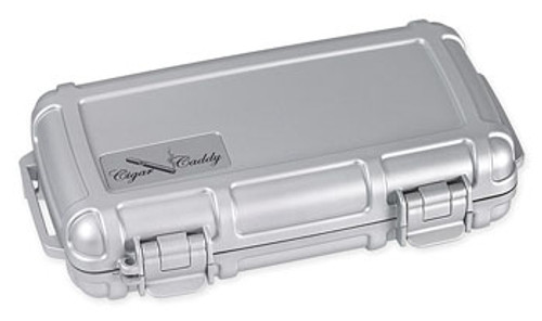 Cigar Caddy 3400-R Silver Metallic Travel Humidor - 5 Cigars