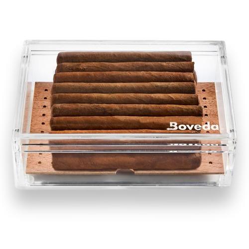 Boveda Small 20 Cigar Acrylic Humidor - Exterior Front with Cigars