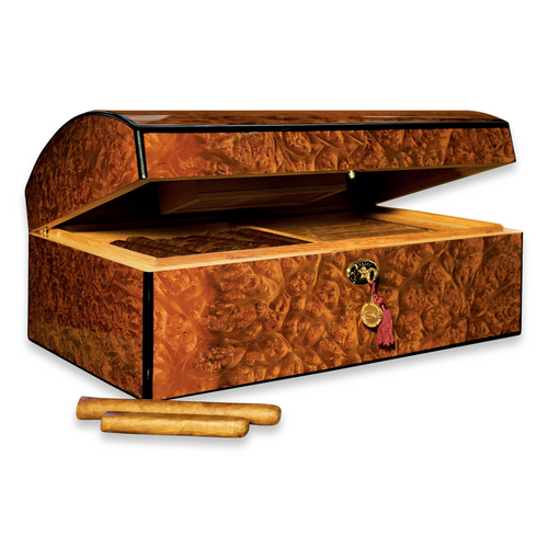 Daniel Marshall 10085 Limited Edition Treasure Chest 150-Cigar Humidor - Precious Burl Wood